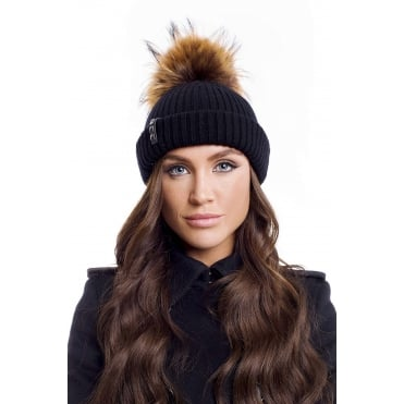 Women's Merino Beanie Black + Tiger Pom