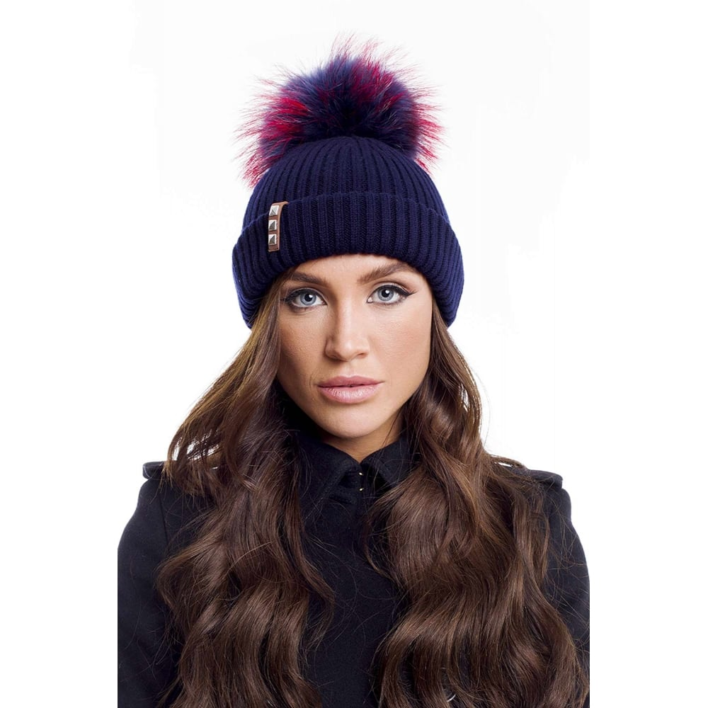 13980acda81 BKLYN Navy Hat with Navy Pink Pom - LD Mountain Centre